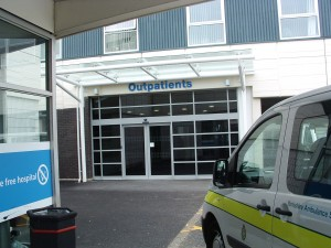 Outpatients entrance is to the left of the main entrance