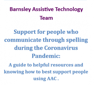 Support for people who communicate through spelling during the Coronavirus Pandemic