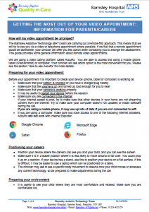 Getting the Most out of your Video Appointment- Information for Parents/Carers