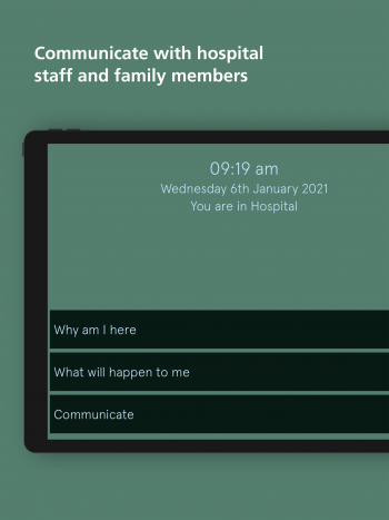 A screenshot of the app shows an example page with options for the user to ask questions